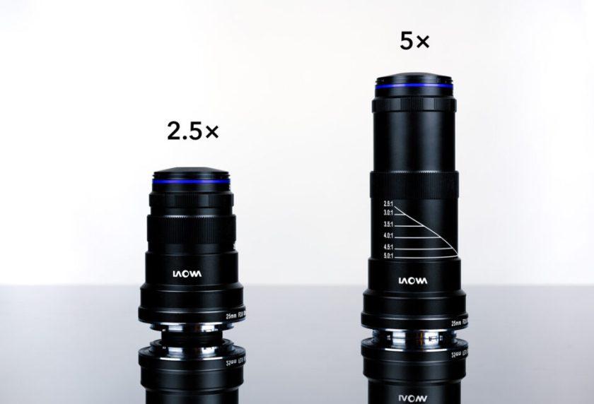 2.5X vs 5X Magnification Size Comparison Laowa 25