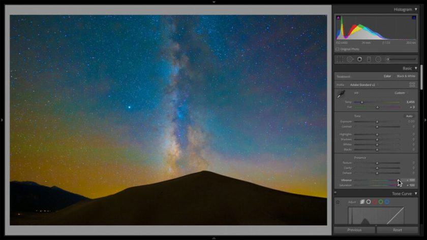 Set Neutral White Balance in Lightroom by Boosting Vibrance and Saturation