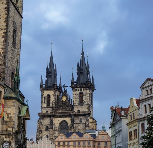 Looking above the market stalls in Prague
