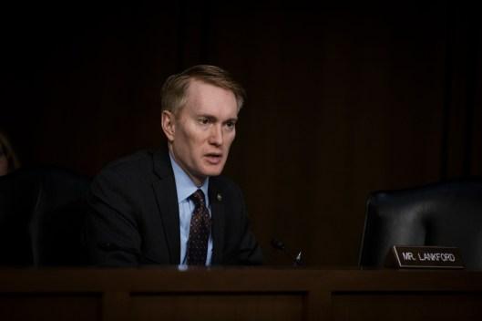 Sen James Lankford at the Worldwide Threats Assessment Senate briefing Feb 13, 2018