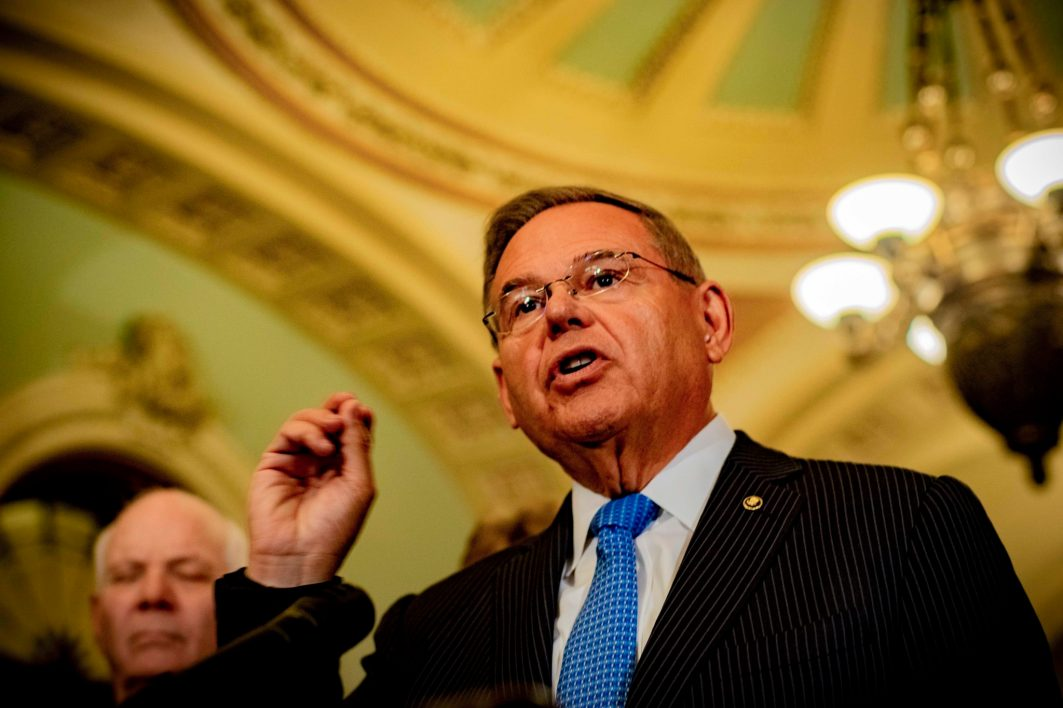 Ranking Member of the Senate Foreign Relations Committee Bob Menendez (D-N.J.) at the Tuesday briefing, July 17, 2018