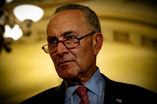 Senate Minority Leader CHUCK SCHUMER (D-N.Y.) at his Tuesday briefing, July 17, 2018