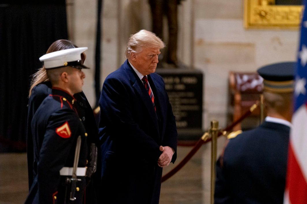 President DONALD TURMP pays his respects with a visit to the body of former President GEORGE HERBERT WALKER BUSH as he lies in state, December 3, 2018, (Photo ©2018 Doug Christian)