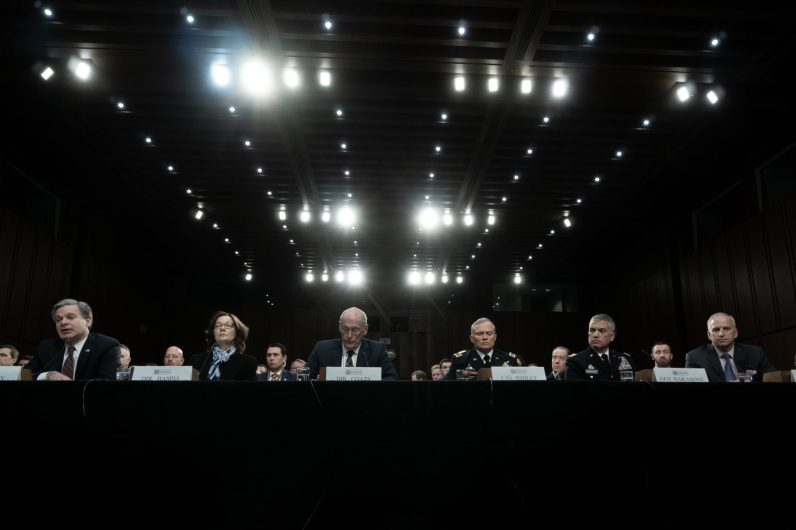 Directors from the 6 major intelligence agencies testify before a Senate Intelligence hearing on Worldwide Threats in 2019 with FBI Director CHRISTOPHER WRAY; CIA Director GINA HASPEL; Director of National Intelligence DANIEL COATS; Defense Intelligence Agency Director General ROBERT ASHLEY; National Security Agency Director General PAUL NAKASONE; and National Geospatial-Intelligence Agency Director ROBERT CARDILLO