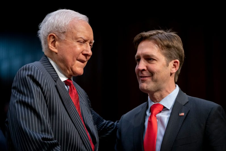 Former Senator ORRIN HATCH greets Senator BEN SASSE (R-NE) at the Senate Judiciary Committee confirmation hearing for WILLIAM BARR to become Attorney General of the United States, January 15, 2019