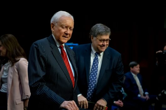 Former Senator ORRIN HATCH greets WILLIAM BARR at the Senate Judiciary Committee confirmation hearing for him to become Attorney General of the United States, January 15, 2019
