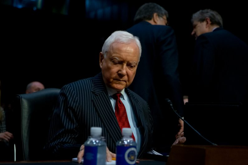 Former Senator ORRIN HATCH at the Senate Judiciary Committee confirmation hearing for WILLIAM BARR to become Attorney General of the United States, January 15, 2019