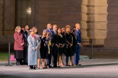Family and staff of former Chairman of the House Oversight Committee ELIJAH CUMMINGS (D-MD) wait outside of the Capitol Building as his casket is carried out to the hearse after lying in state, October 24, 2019