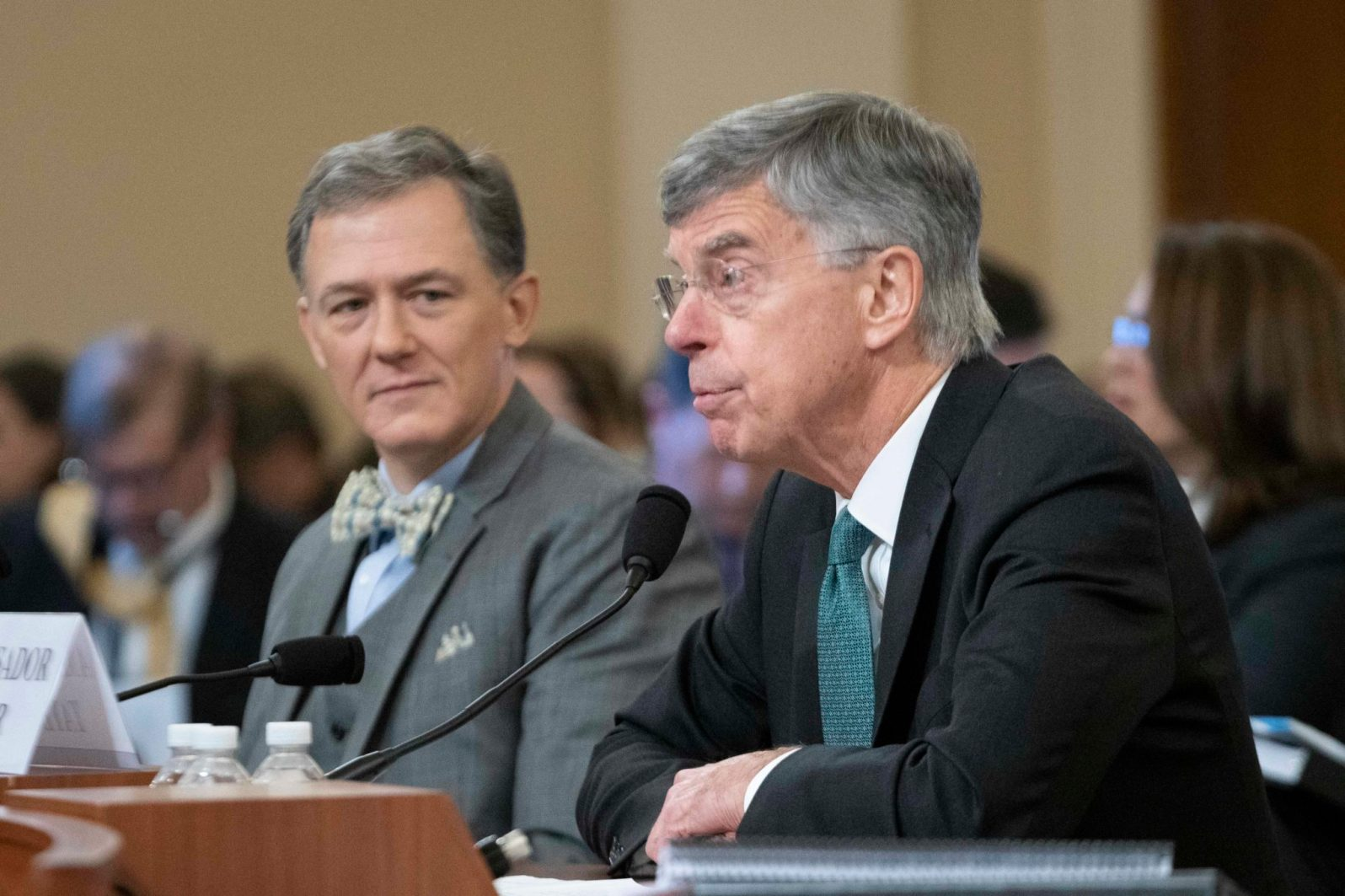 GEORGE KENT, Deputy Assistant Secretary for European and Eurasian Affairs, looks on as WILLIAM TAYLOR, former Ambassador of the United States to Ukraine, speaks during their joint testimony before the House Intelligence Committee on the first day of public impeachment hearings against President Donald Trump, November 13, 2019