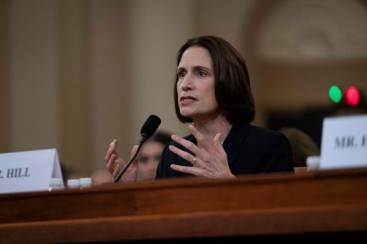 "Former national-security official Dr. FIONA HILL testifies before the House Intelligence Committee. Hill warned lawmakers against promoting a ""fictional narrative"" that Ukraine interfered in the 2016 U.S. elections. She called such a theory Russian propaganda. November 21, 2019"