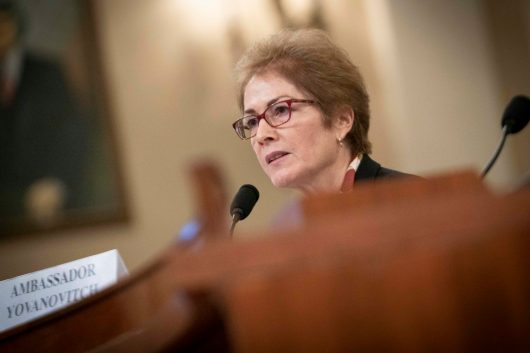 """MARIE YOVANOVITCH, former United States Ambassador to Ukraine, testifies before the House Intelligence Committee, after she was reportedly pushed out of her position by President Donald Trump. The call summary between President Trump and Ukrainian President Volodymyr Zelensky said that Trump called her """"bad news"""". In response, YOVANOVITCH """"shocked"""" and """"devastated"""" at the President's characterization of her. November 15, 2019"""