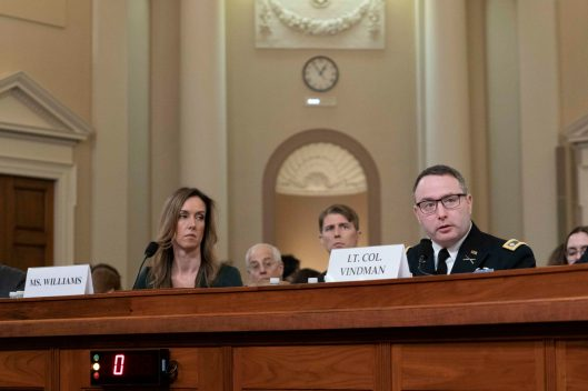 LTC ALEXANDER VINDMAN, Director for European Affairs for the NSC and JENNIFER WILLIAMS, Russia adviser for Vice President Pence, testify before the House Intelligence Committee, November 19, 2019