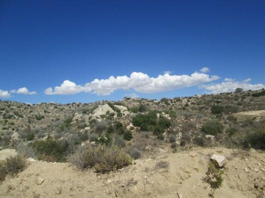 Clouds in the clear blue sky.