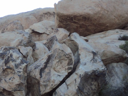 Various shades of colors on the boulders.