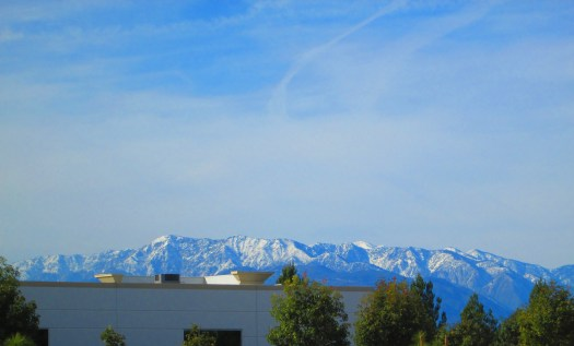 Mount Baldy in the distance with trees and a building in the foreground.