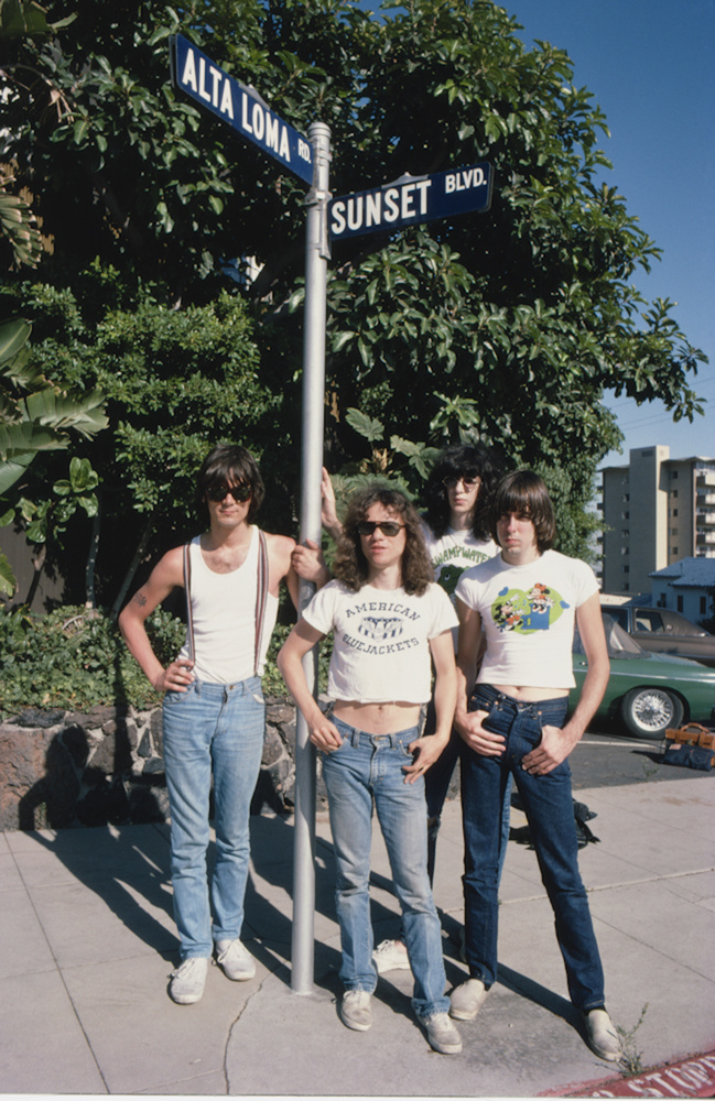 The Ramones Work My Camera 1978: The Ramones were staying at the Sunset Marquis, just down the street from the intersection of Sunset Blvd and Alta Loma.  The band was wonderful to photograph and they really knew how to work the camera.  They would all line up and strike their pose like they had already done it a thousand times before. It was so cute to watch. I am sure they were taught how to do the dog for the camera by their brilliant manager, Danny Fields, also a talented photographer.  Both the Sunset Marquis and The Whiskey are still around.  You can go for a visit and stand in the exact spot where Joey, Johnny, Dee Dee and Tommy once stood.  I should conduct tours of these landmarks.
