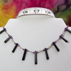 bluegoldstone fan necklace-7836