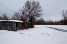 Early Winter: shack by the canal