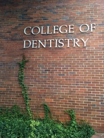 The west entrance of the Dental College is where the patients and students enter in each morning to learn and be helped by UF.
