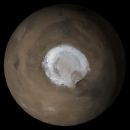 This MOC image shows the north polar region of Mars