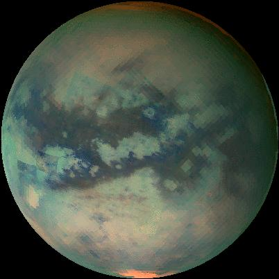 This image of Titan shows data taken with Cassinis visual and infrared mapping spectrometer during the last three flybys of Titan.  Image credit: NASA/JPL/University of Arizona