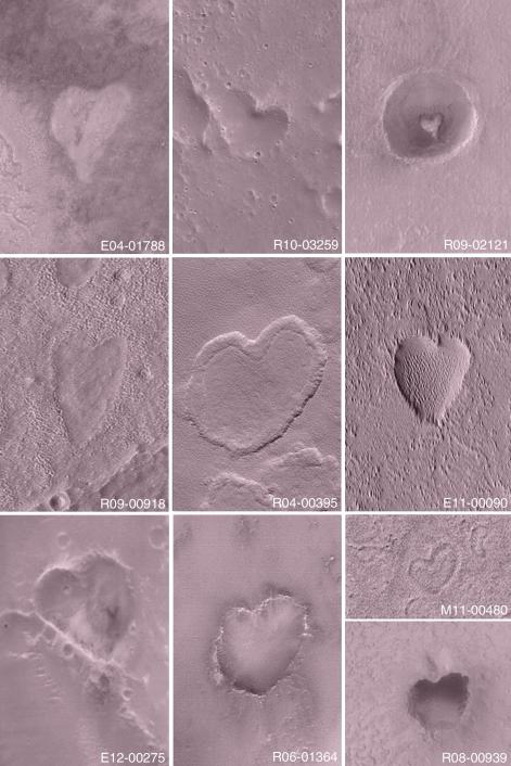 Happy St. Valentine's Day from the Mars Global Surveyor (MGS) Mars Orbiter Camera (MOC) team! This collection of images acquired over the past 3 Mars years shows some of the heart-shaped features found on Mars by the MGS MOC.