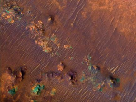 Nili Fossae: one area where methane outgassing has been detected on Mars.