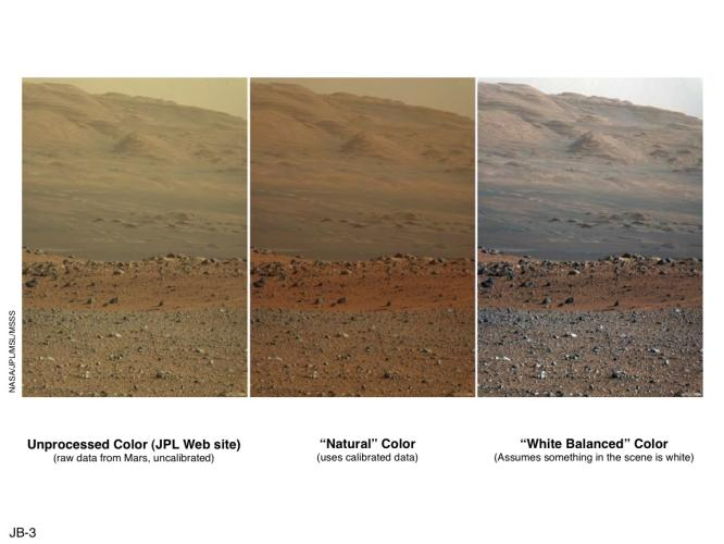 Shows effect of natural colour (centre) and processed to resemble Earth lighting conditions (right)