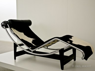 I watch tv on one of these. A reproduction, of course. Chaise longue by Le Corbusier and Charlotte Perriand, 1928-30.