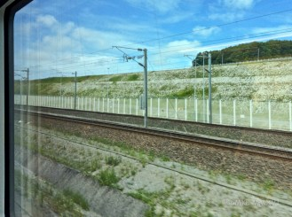 the tracks angle downward.