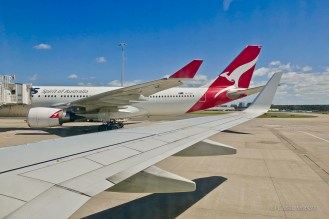 On the ground in SYD, home of Qantas airlines and the oldest commercial airport in continuous operation in the world.