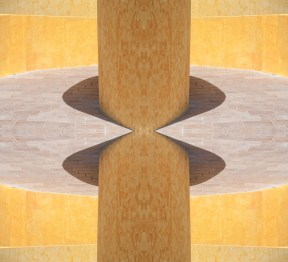 Trompe l'oeil. Photo of curving walkway, Royal Haciendas resort, Playa del Carmen, Mexico.
