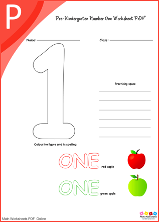 Pre-Kindergarten Number One Worksheet PDF