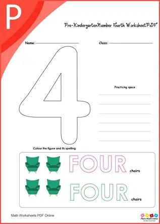 Pre-kindergarten Number Fourth Worksheet PDF