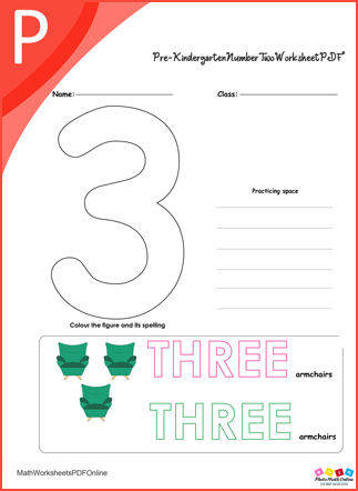 Pre-kindergarten Number Three Worksheet PDF