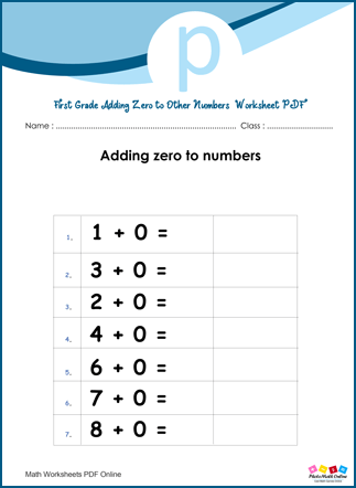 First Grade Adding Zero To Other Numbers Worksheet PDF