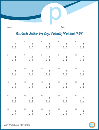 First Grade Addition One Digit Vertically Worksheet