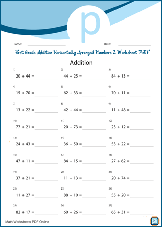 First Grade Addition Horizontally Arranged Numbers 3 Worksheet