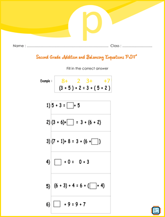 Second Grade Addition And Balancing Equations Worksheet