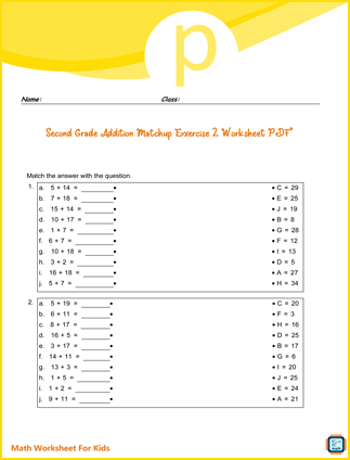 Second Grade Addition Matchup Exercise 2 Worksheet