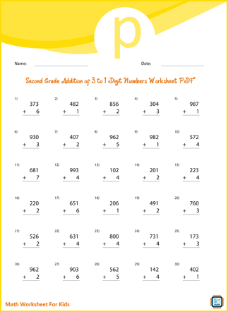 Second Grade Addition of 3 to 1 Digit Numbers Worksheet