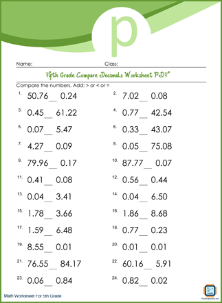 Compare Decimals Grade 5 Worksheet PDF Printable