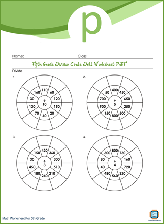 Division Circle Drill Grade 5 Worksheet PDF With Answers