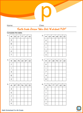 Fourth Grade Division Table Drill Worksheet