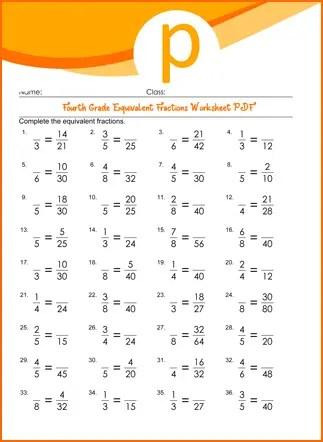 Fourth Grade Equivalent Fractions Worksheet