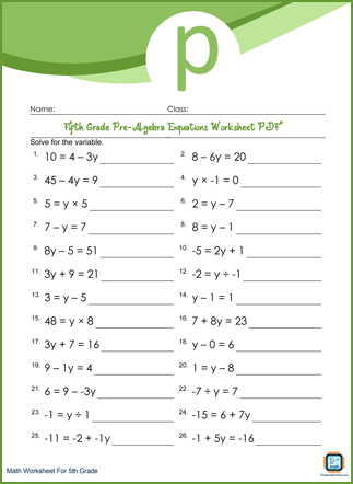 Pre-Algebra Equations Grade 5 Worksheet PDF Printable