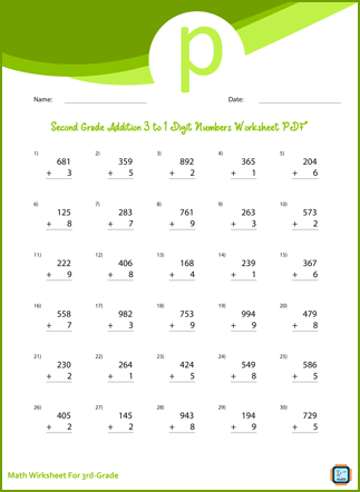 Third Grade Addition 3 to 1 Digit Numbers Worksheet