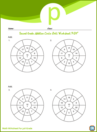 Third Grade Addition Circle Drill Worksheet
