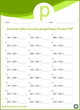 Third Grade Addition Horizontally Arranged Numbers Worksheet