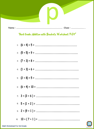 Third Grade Addition with Brackets Worksheet